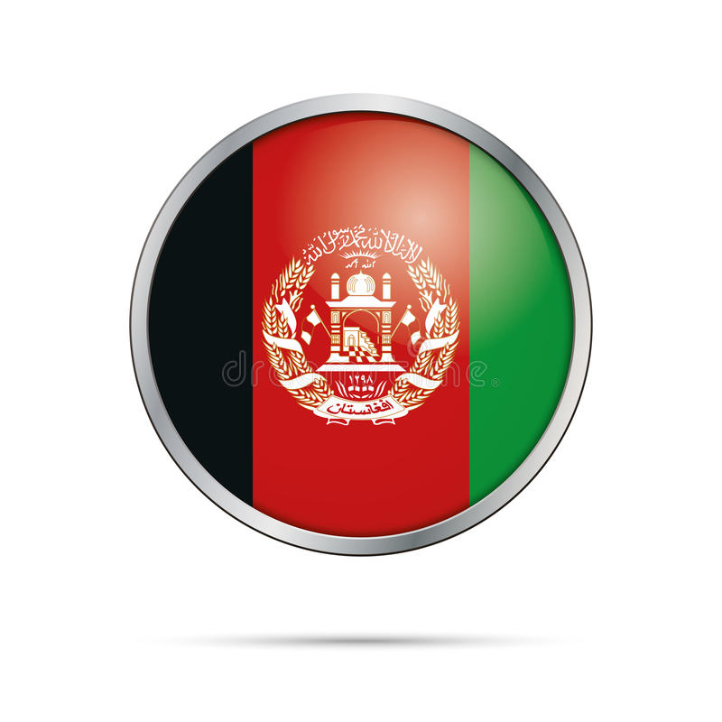 Vector Afghan flag button. Afghanistan flag in glass button style. vector illustration