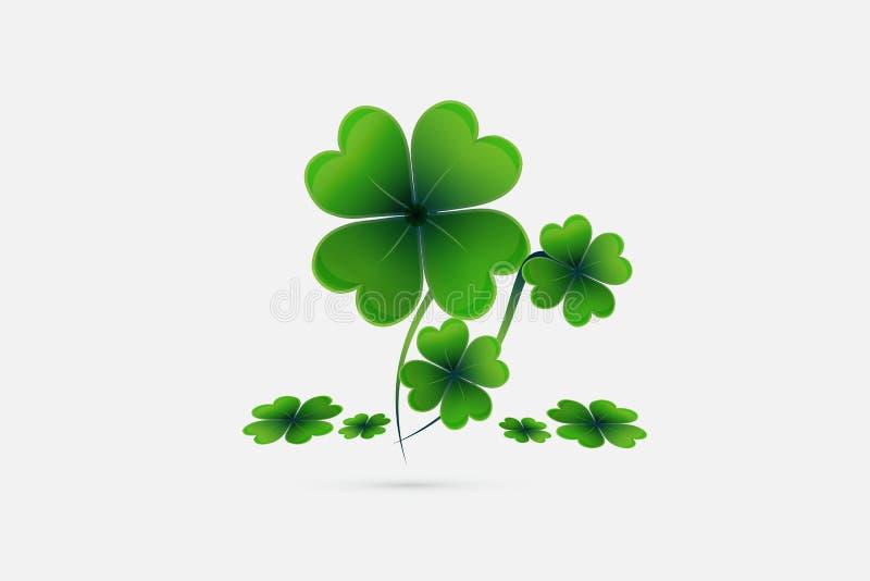 Vector afortunado de la tarjeta de felicitaciones de la planta del día de St Patrick ilustración del vector