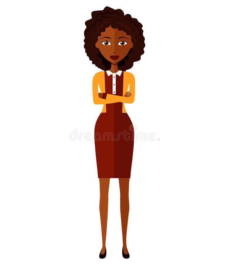 Vector - African American business woman. Beautiful black woman with arms crossed isolated on white background. stock image