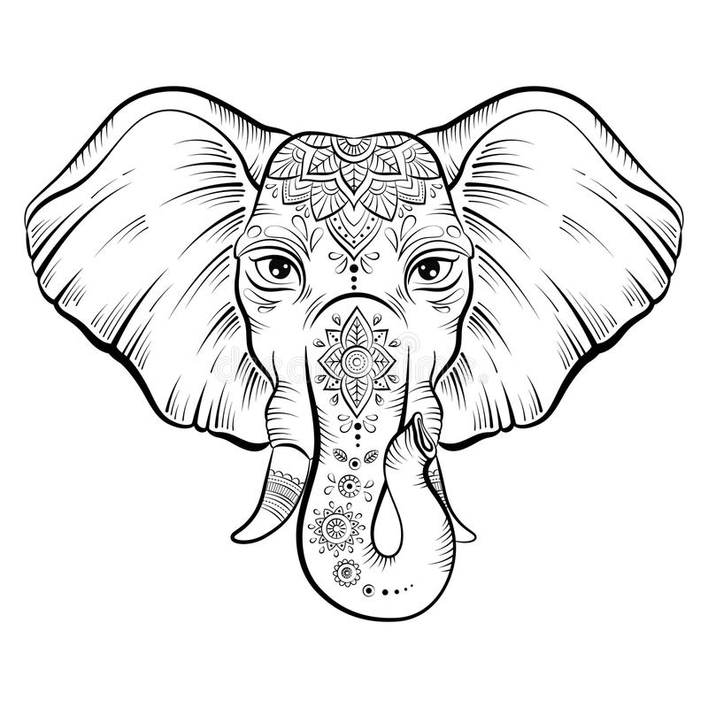 Line Drawing Elephant Face : Vector african elephant in sketch style stock