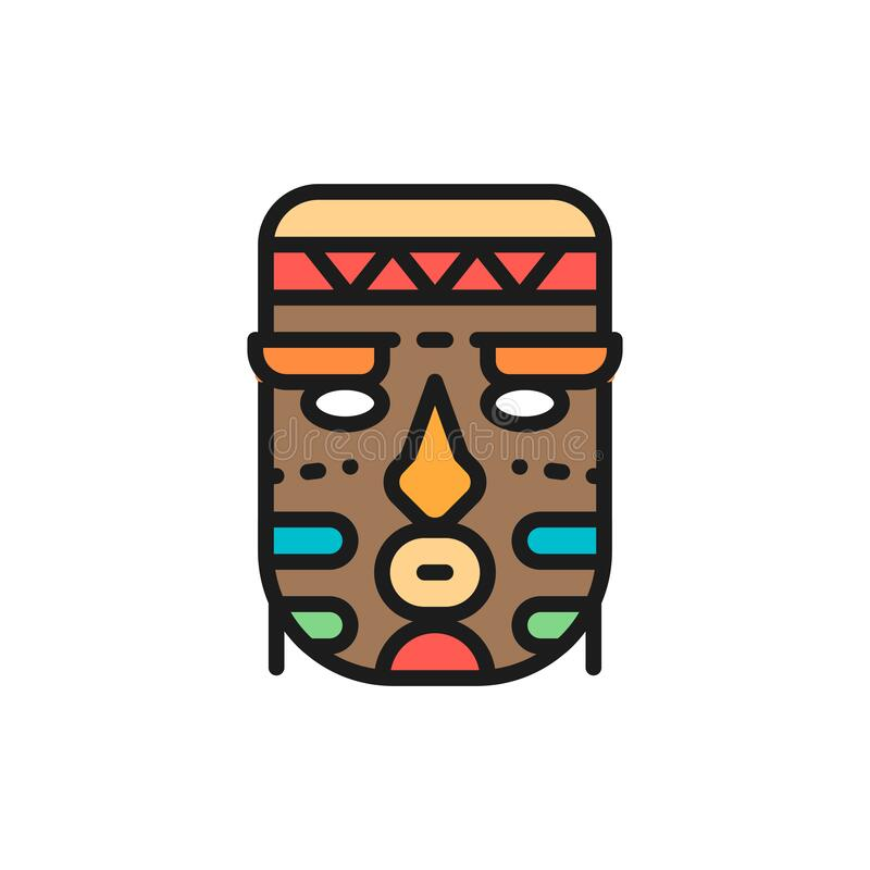 Vector african ethnic tribal mask flat color line icon. stock illustration