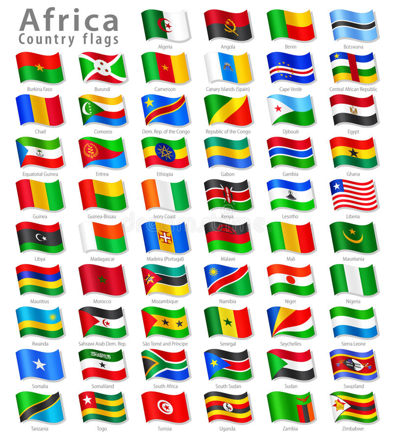 Vector African National Flag Set Royalty Free Stock Image