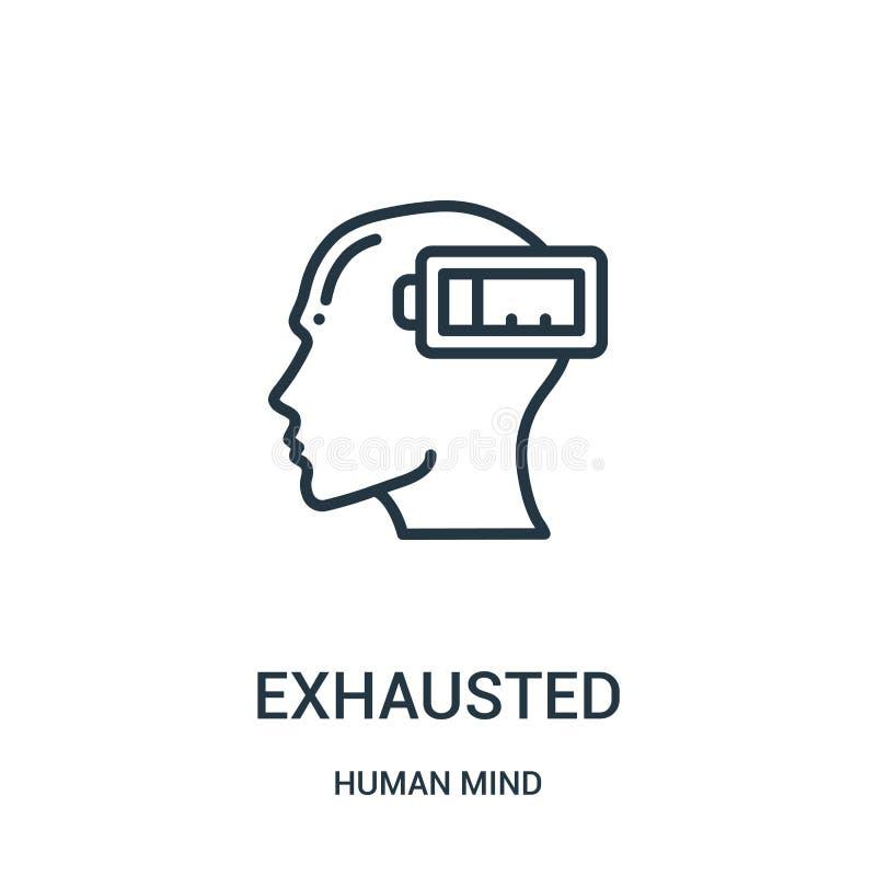 vector agotado del icono de la colección de la mente humana Línea fina ejemplo agotado del vector del icono del esquema Símbolo l libre illustration