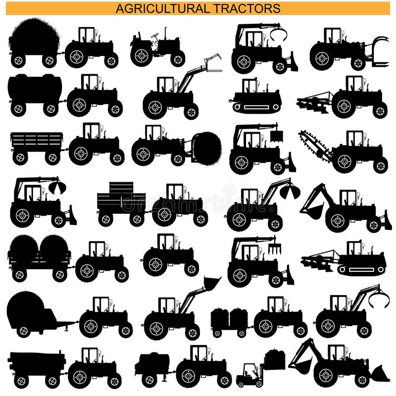 Vector Agricultural Tractor Pictograms. On white background royalty free illustration