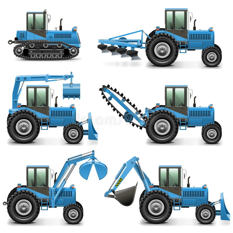 Vector Agricultural Tractor Set 1 stock illustration