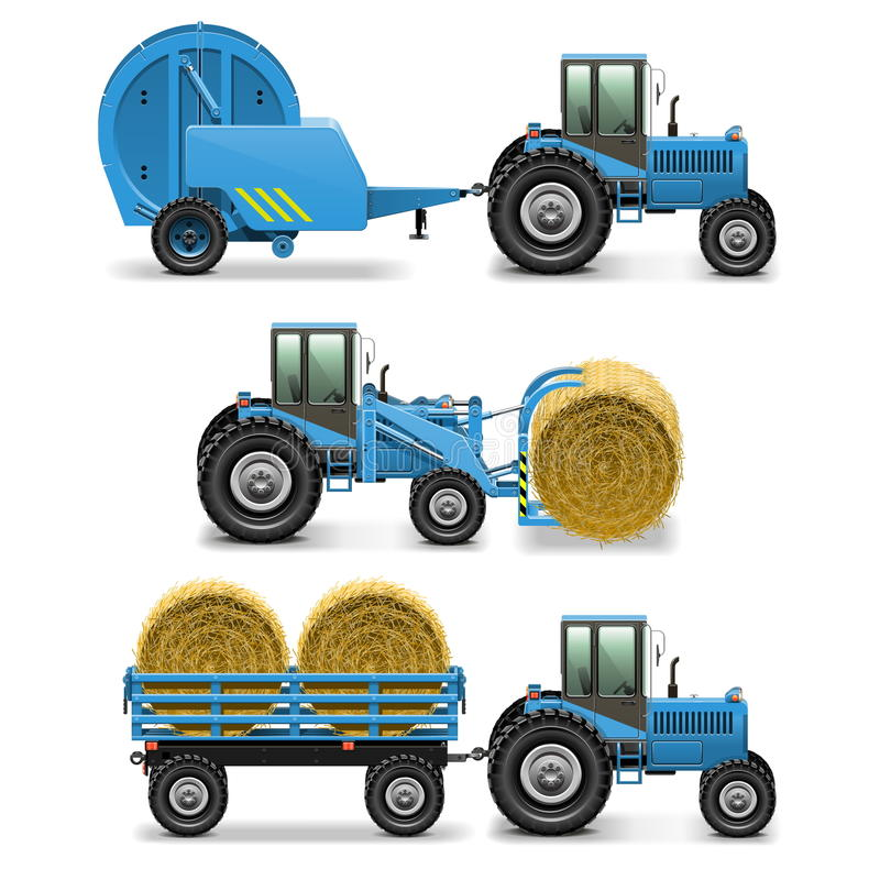 Vector Agricultural Tractor Set 5 royalty free illustration