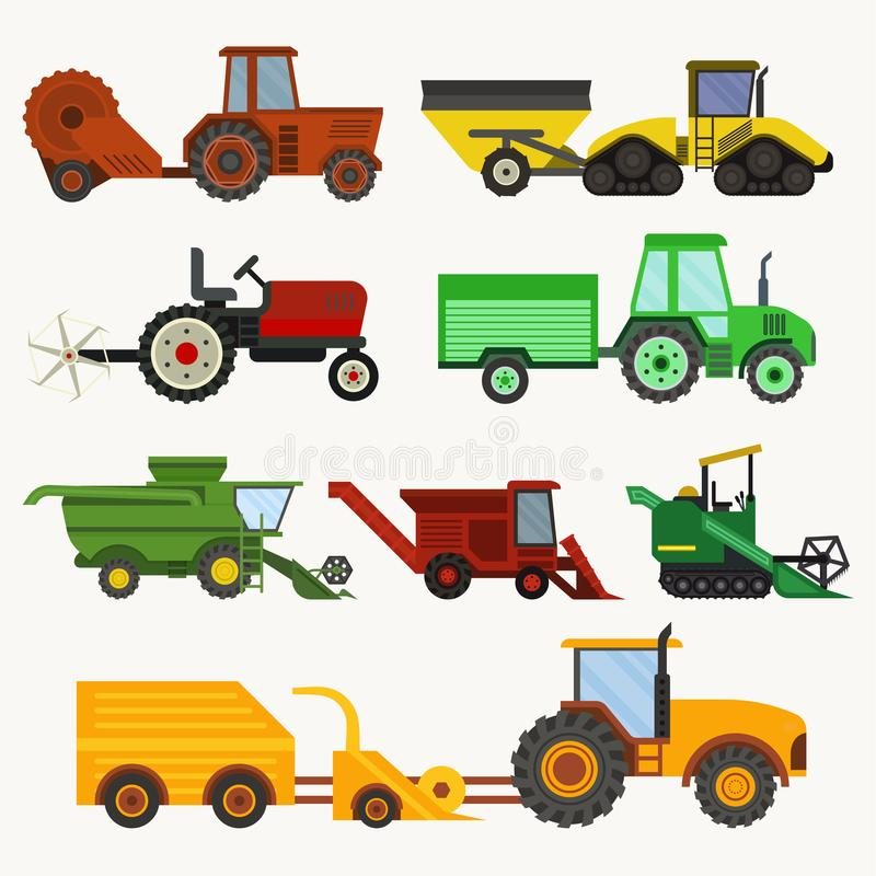Vector agricultural vehicles harvester machine and combines excavators set different types agricultural harvester vector illustration