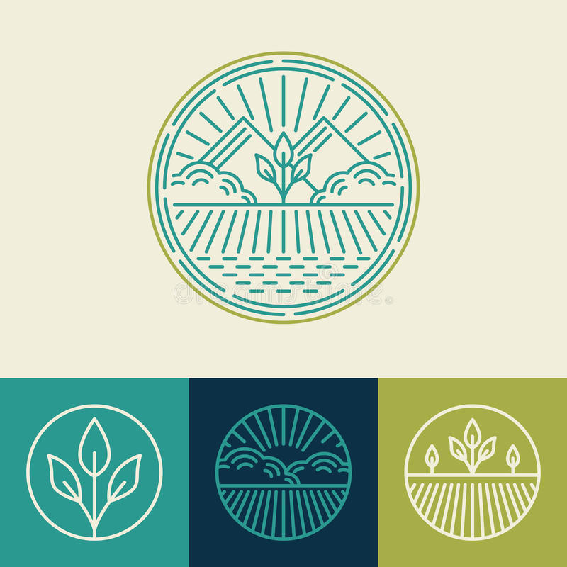 Vector agriculture and organic farm line logos royalty free illustration