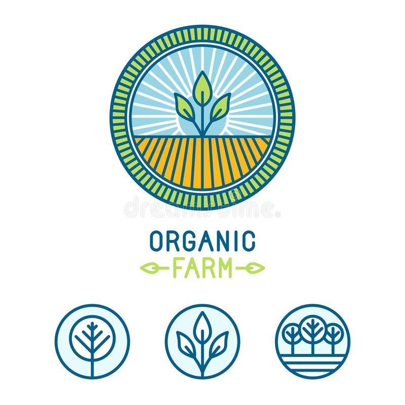 Vector Agriculture And Organic Farm Line Logos Stock