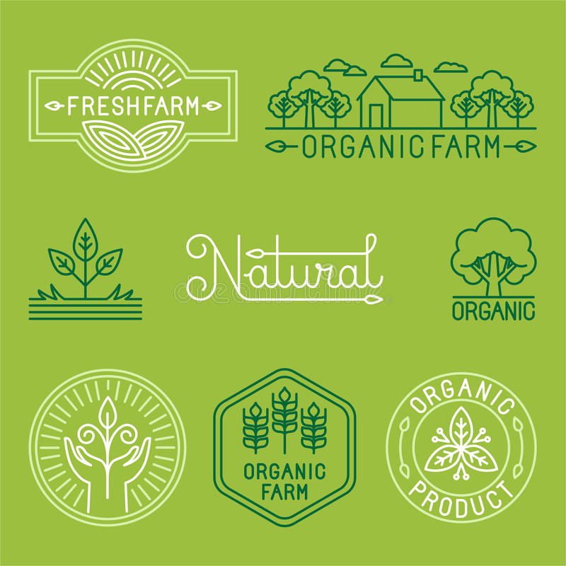 Vector agriculture and organic farm line logos stock illustration