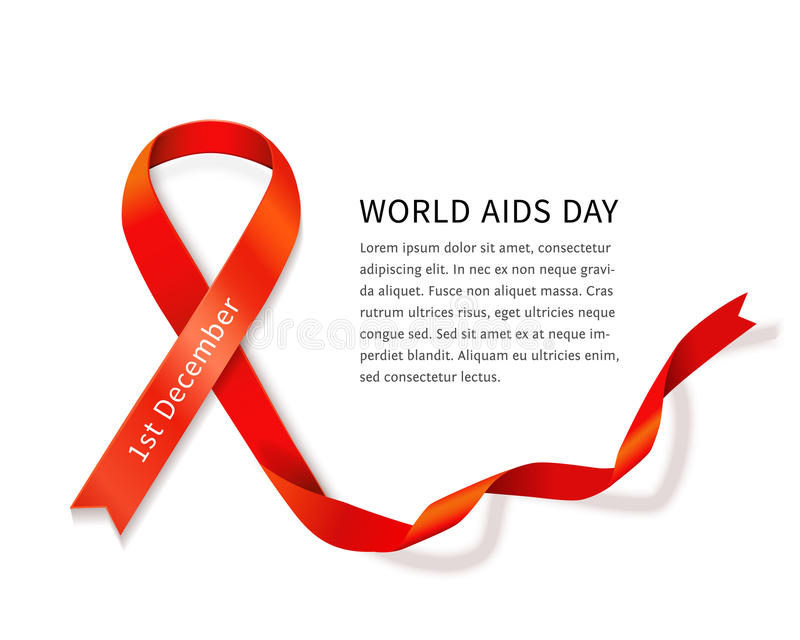 Vector AIDS ribbon. AIDS awareness red satin ribbon loop isolated on white background with copy space for your text. Vector illustration of symbol for solidarity stock illustration