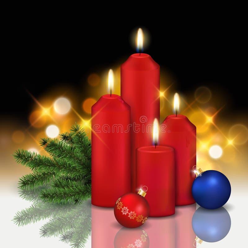 Vector ainda a vida realística com quatro velas ardentes vermelhas, baubl ilustração do vetor