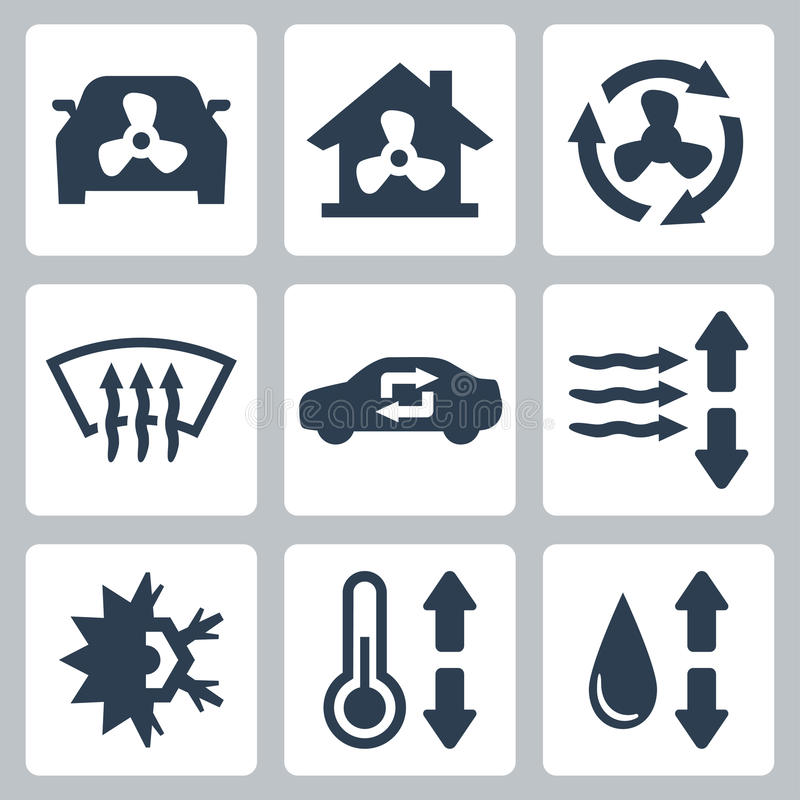 Vector air conditioning icons. Set vector illustration