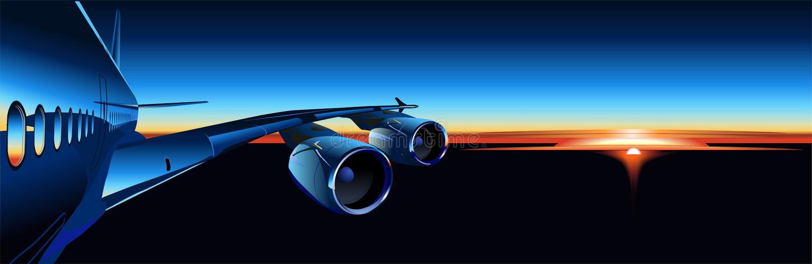 Vector airbus at sunrise royalty free illustration