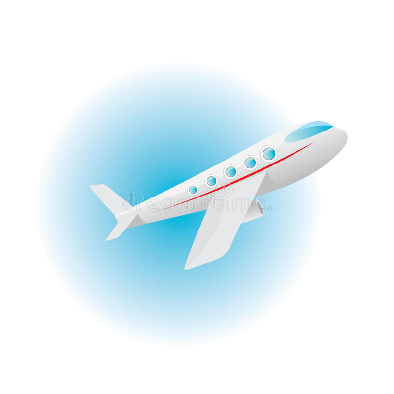 Vector airplane icon. cartoon plane in blue sky stock illustration