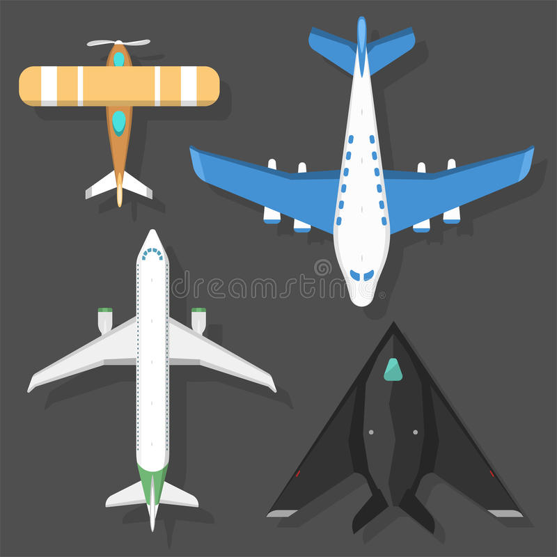 Vector airplane illustration top view and aircraft transportation travel way design journey object. stock illustration