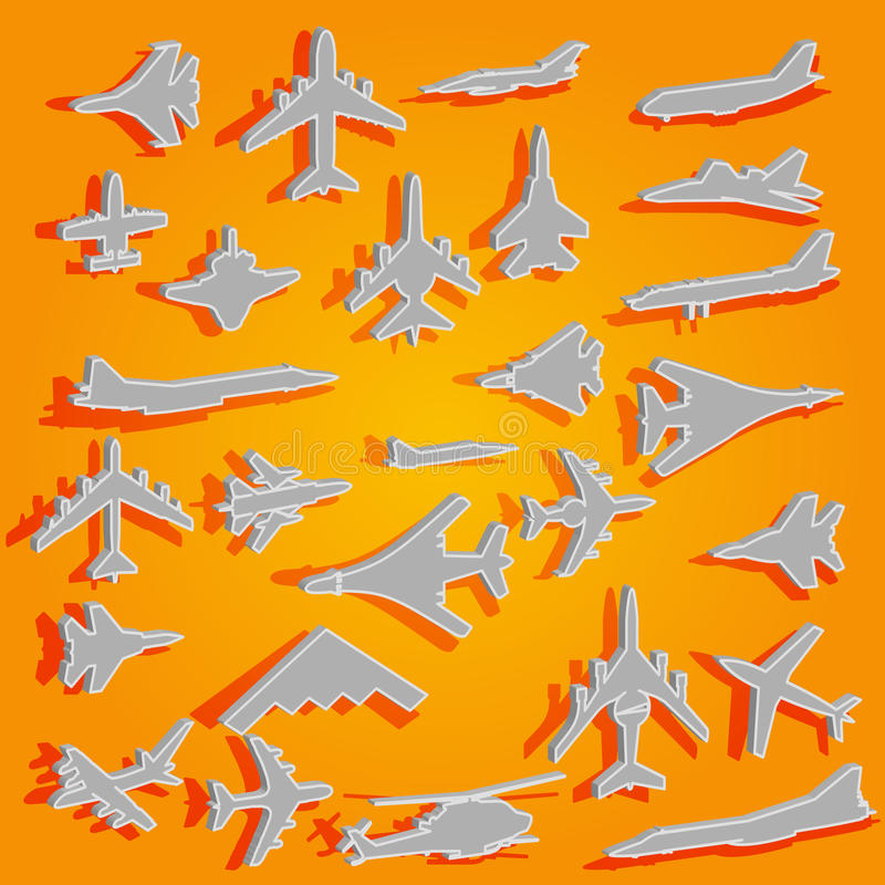 Vector airplane stickers royalty free illustration