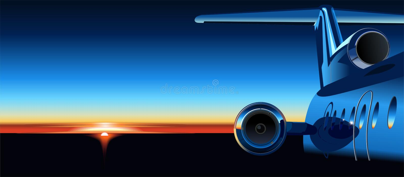 Vector airplane at sunrise vector illustration