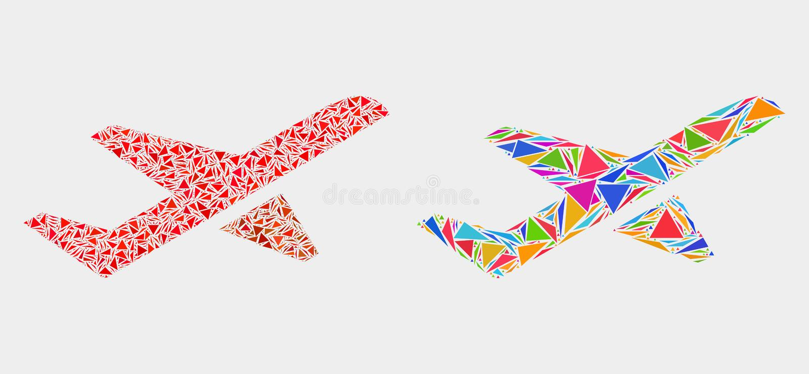Vector Airplane Takeoff Mosaic Icon of Triangle Items. Airplane takeoff mosaic icon of triangle elements which have different sizes and shapes and colors vector illustration