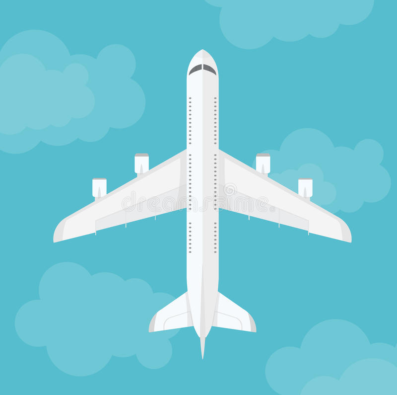 Vector airplane top view near clouds. Airplane flying near clouds isolate. Vector illustration stock illustration