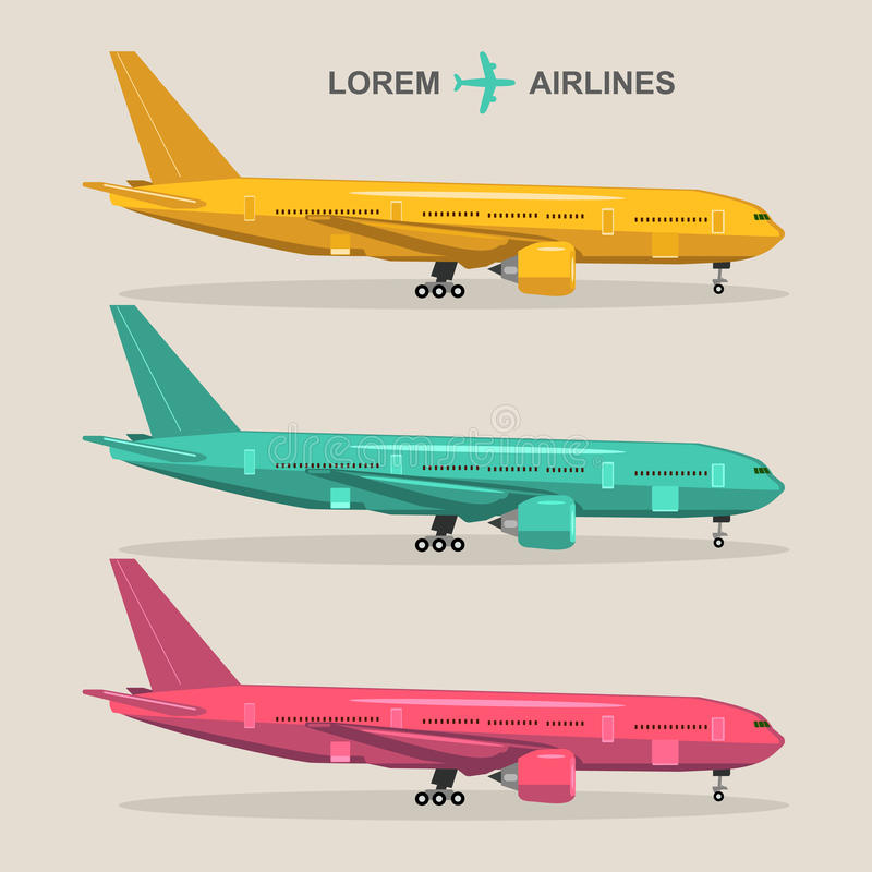 Vector airplanes set. Aviation illustrations in flat style. Different colors jets collection. vector illustration