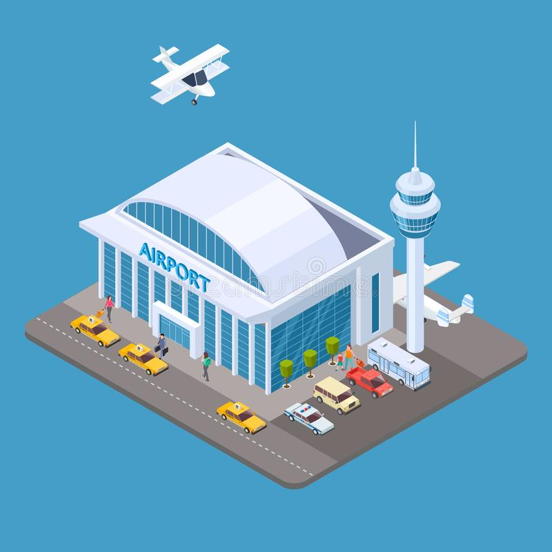 Vector airport isometric concept with passengers, taxi, airplane royalty free illustration