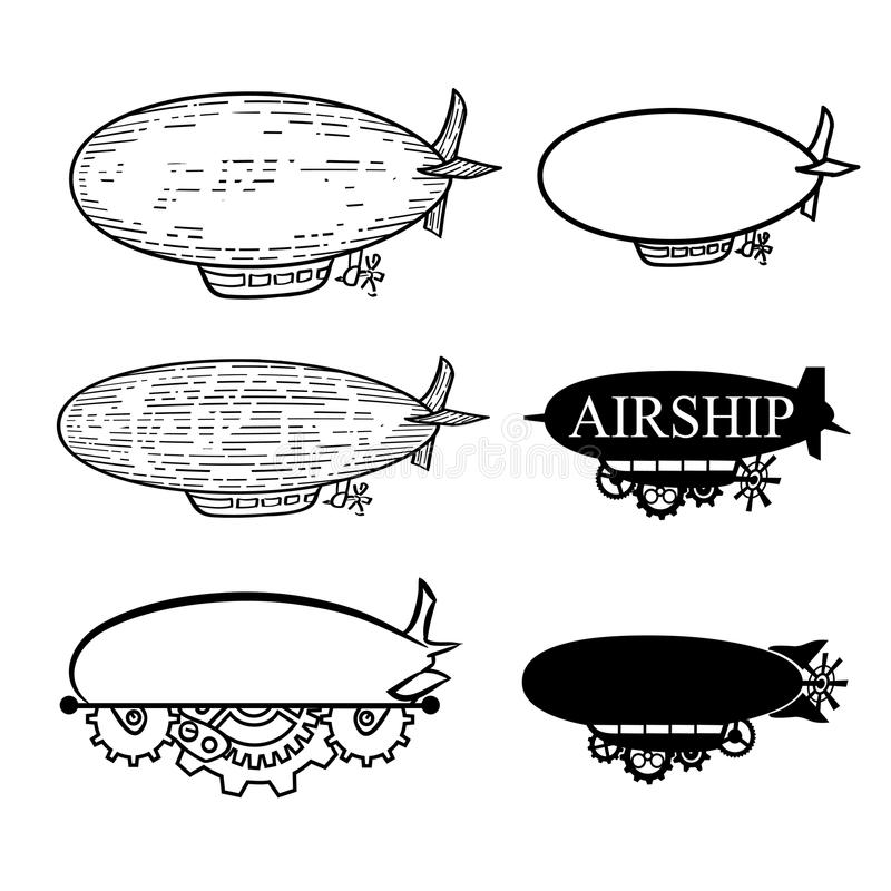 Free Vector Airship With A Place For The Text. Black Silhouette Dirigible Template Labels Royalty Free Stock Images - 68723569