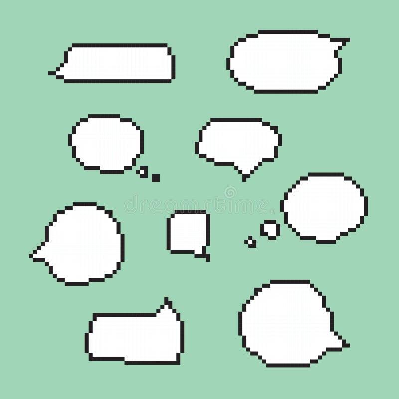 Vector aislado burbujas del discurso del arte del pixel stock de ilustración