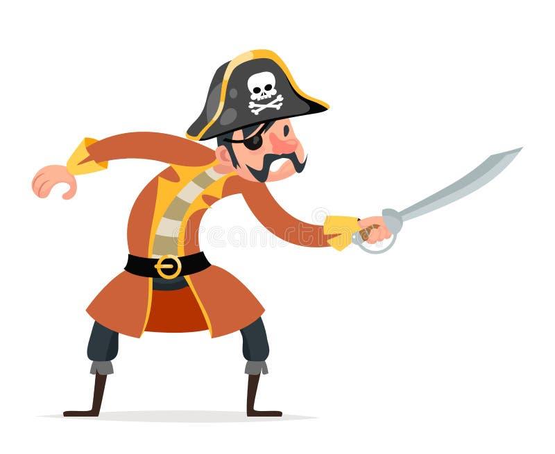Vector aislado car?cter del dise?o de la historieta del icono de la amenaza del ataque del pirata del robo de los marineros del p stock de ilustración