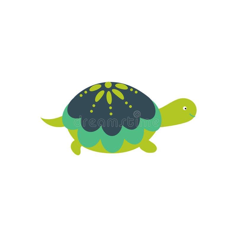 Vector aislado carácter lindo verde de la tortuga de la historieta stock de ilustración