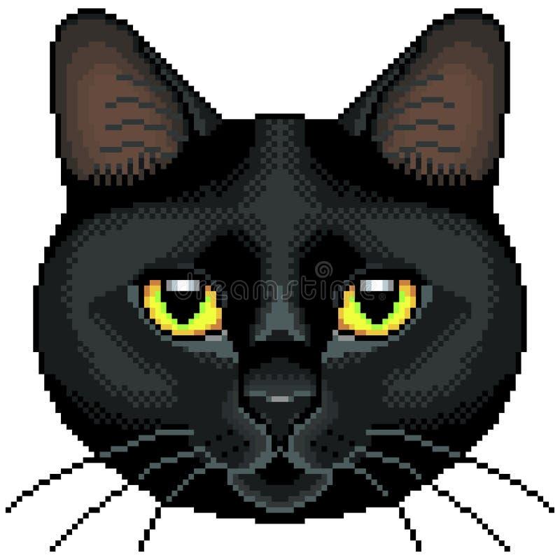 Vector aislado cara del gato negro del pixel libre illustration