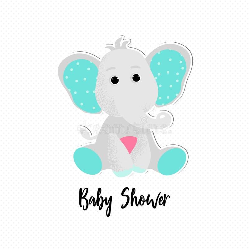 Vector aislado del elefante del bebé en estilo de la historieta ilustración del vector
