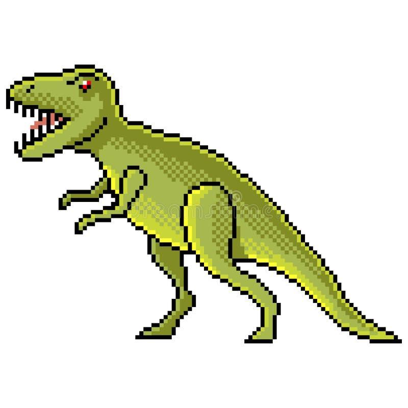 Vector aislado dinosaurio del tiranosaurio del pixel ilustración del vector