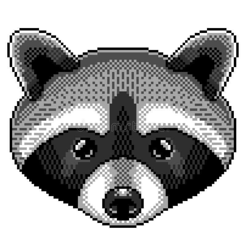 Vector aislado ejemplo detallado del retrato del mapache del pixel stock de ilustración