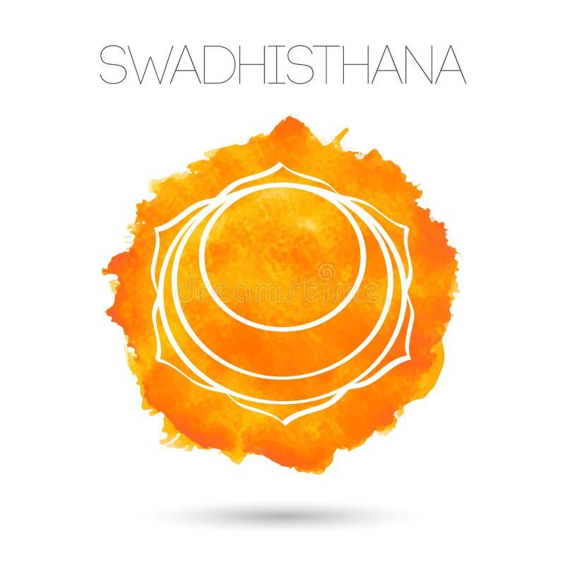 Vector aislado en el ejemplo blanco uno de los siete chakras - Swadhisthana del fondo Textura pintada acuarela stock de ilustración