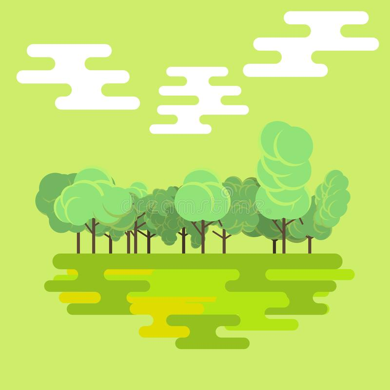 Vector aislado fondo plano del paisaje de la naturaleza del Forest Green Color tropical hermoso del árbol natural Diseño de la es libre illustration