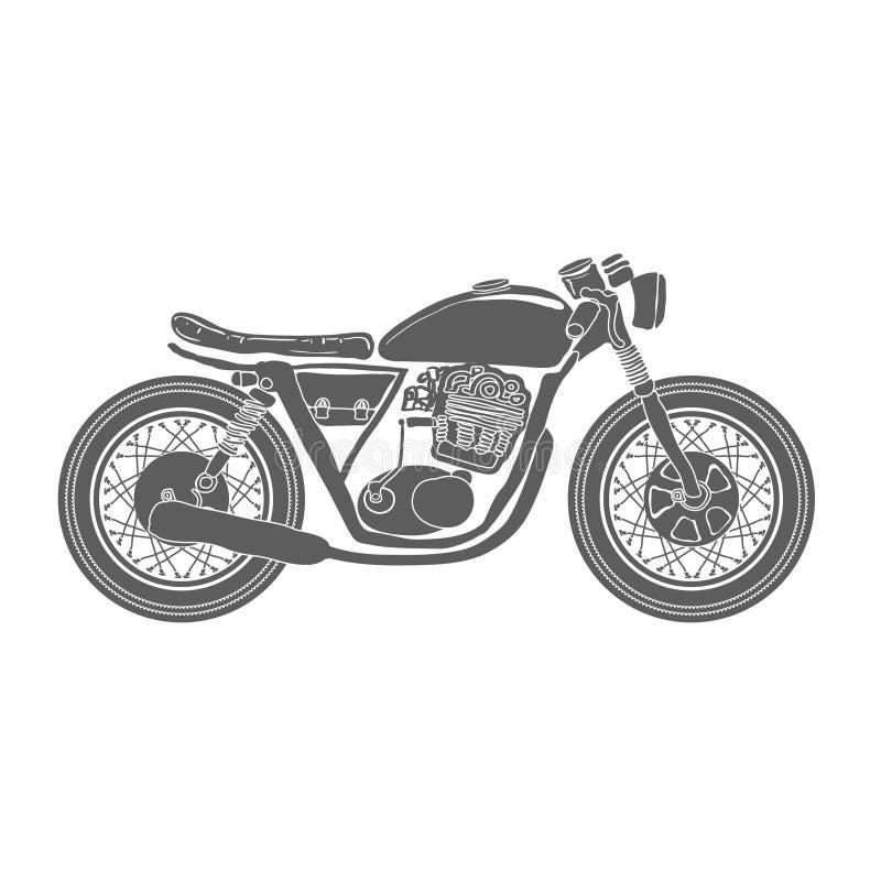 Vector aislado motocicleta dibujado mano del vintage stock de ilustración