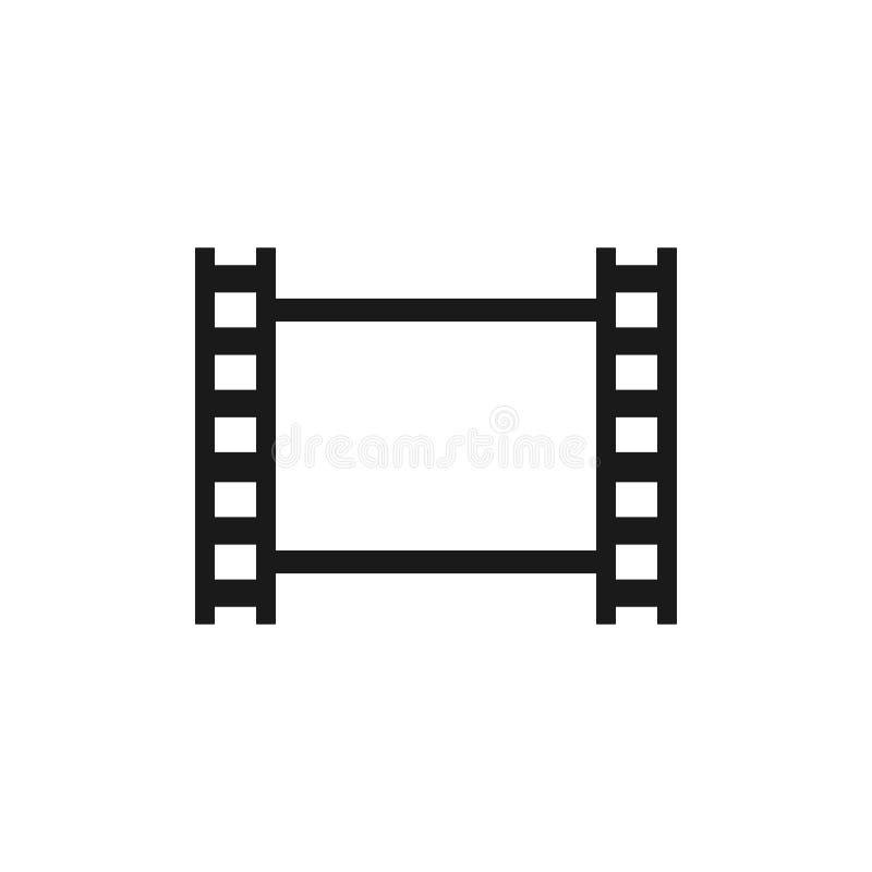 Vector aislado negro de la tira de película Icono del blanck de la cinta de la película fotográfica stock de ilustración