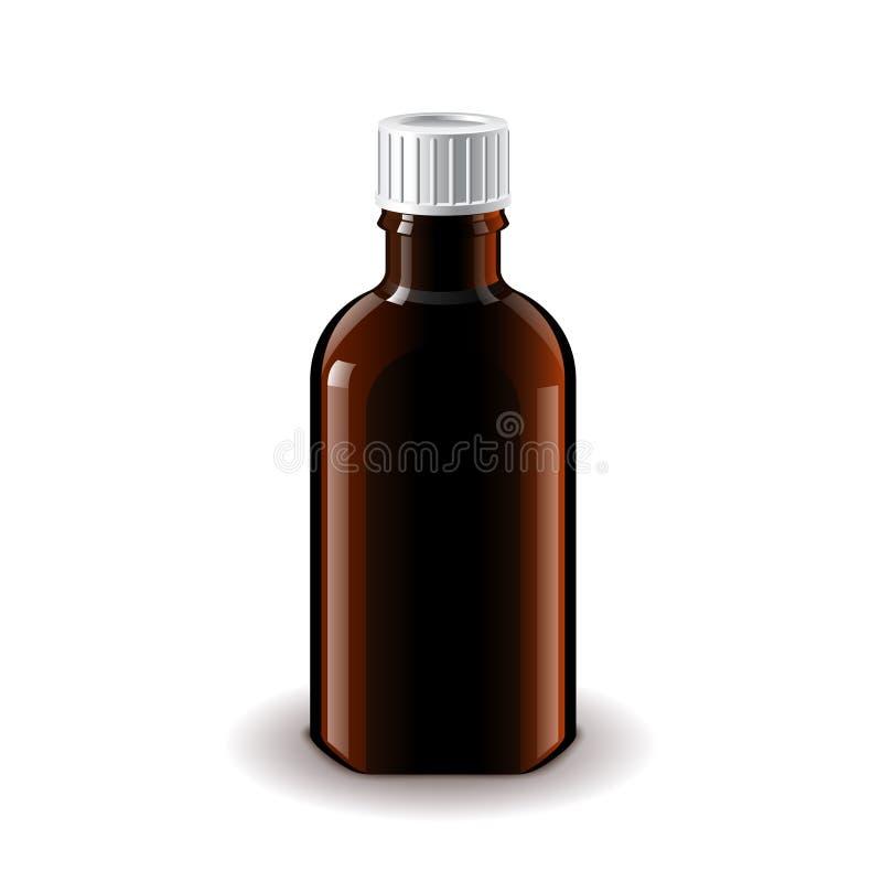 Vector aislado oscuro médico de la botella de cristal ilustración del vector