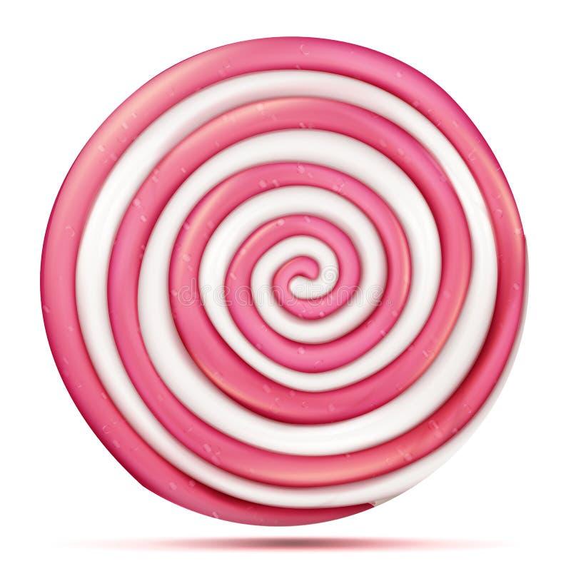 Vector aislado piruleta rosada redonda Ejemplo realista dulce clásico del espiral del extracto del caramelo ilustración del vector