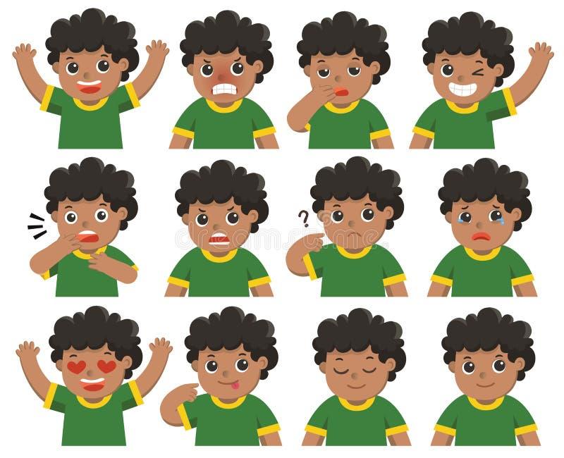 Vector aislado Sistema de emociones adorables del facial del muchacho libre illustration