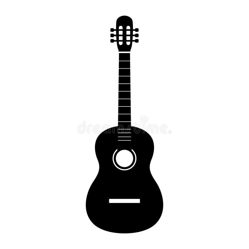 Vector, Akoestisch muzikaal die het instrumententeken van het gitaarpictogram op witte achtergrond wordt geïsoleerd In Vlakke sti vector illustratie