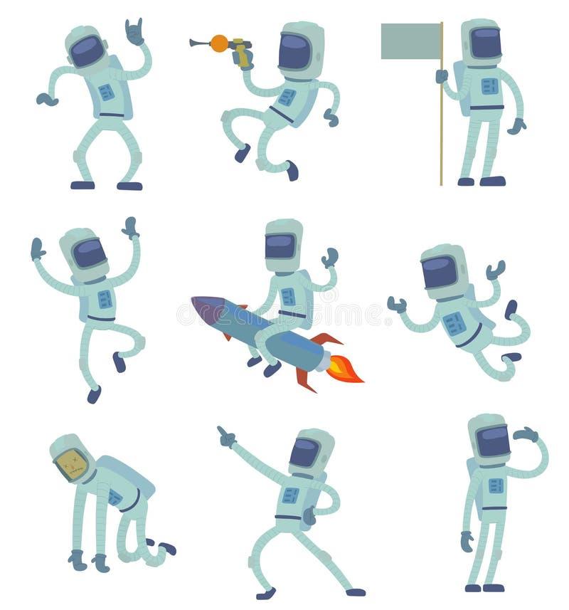 Vector al astronauta extranjero del carácter en el espacio que trabaja divirtiéndose aislado en Sistema Solar del fondo de la gal stock de ilustración