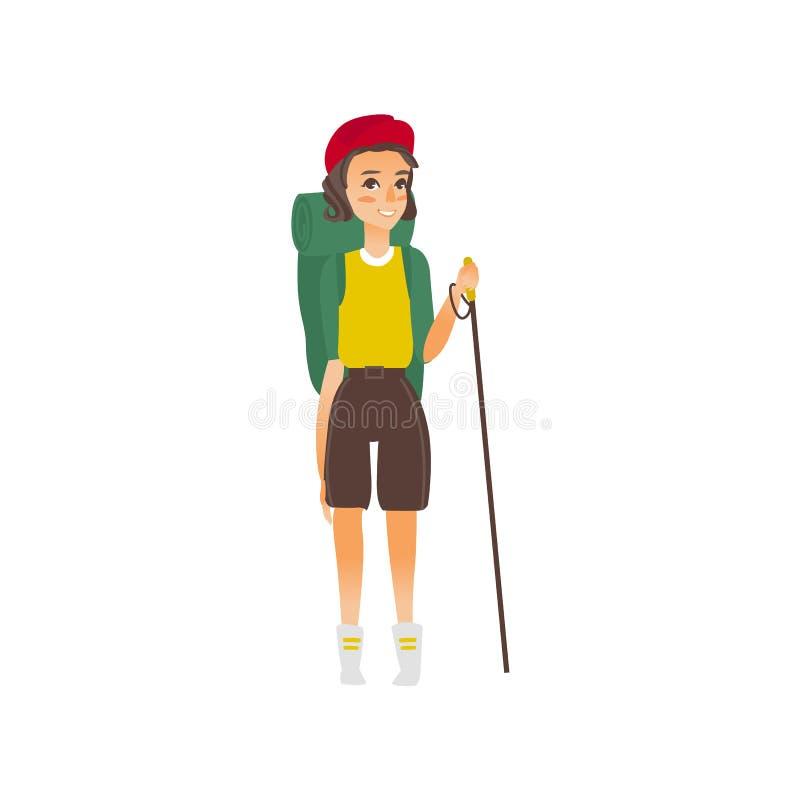 Vector al caminante plano de la muchacha con el polo del senderismo de la mochila libre illustration