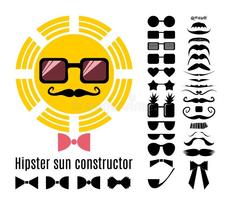 Vector al constructor del sol del inconformista con la colección de bigotes, de vidrios, de corbatas de lazo y de un tubo stock de ilustración