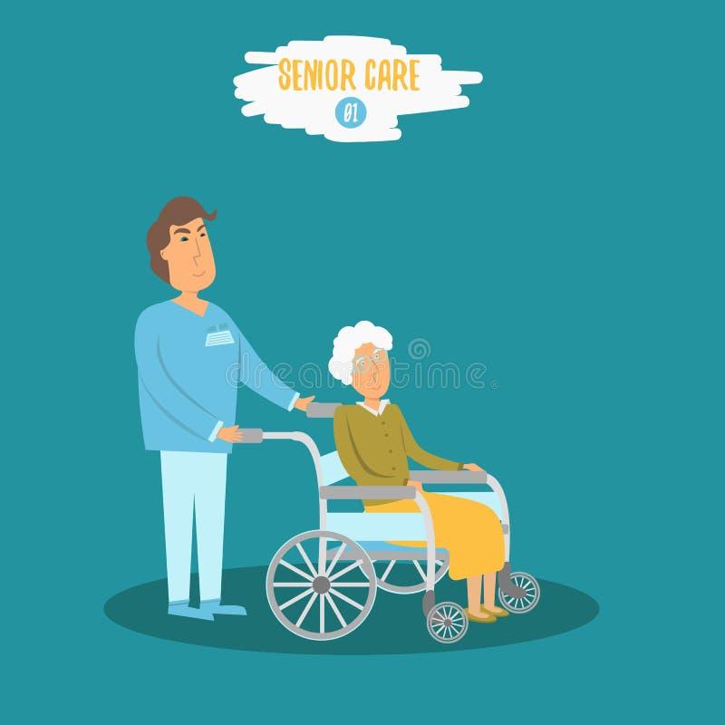 Vector al doctor de sexo masculino mayor del cuidado que ayuda a la abuela mayor en paseo Enfermera mayor que cuida en el hospita ilustración del vector