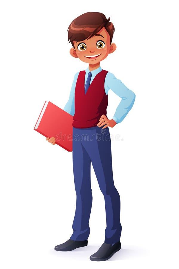 Vector al escolar joven inteligente en el uniforme que se coloca con el libro ilustración del vector