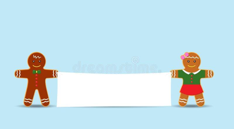 Vector al hombre de la galleta y muchacha o los hombres de pan de jengibre que sostienen la bandera en blanco stock de ilustración