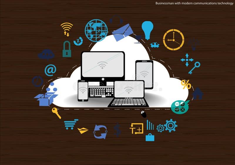Vector al hombre de negocios con la tecnología de comunicación móvil, la tarea modernas del Tablet PC y del cuaderno, leveraging  ilustración del vector