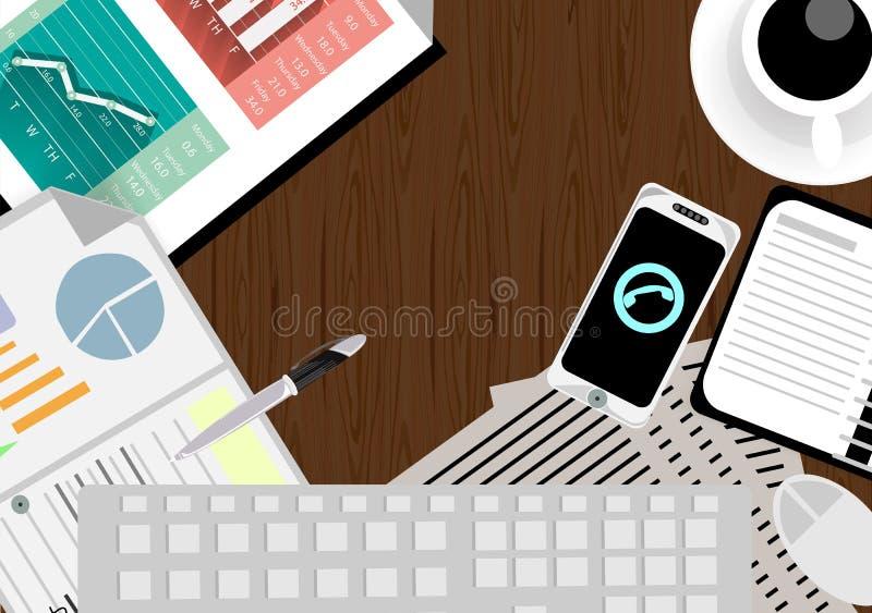 Vector al hombre de negocios con un área de trabajo y una tecnología de comunicación del teléfono del escritorio ilustración del vector